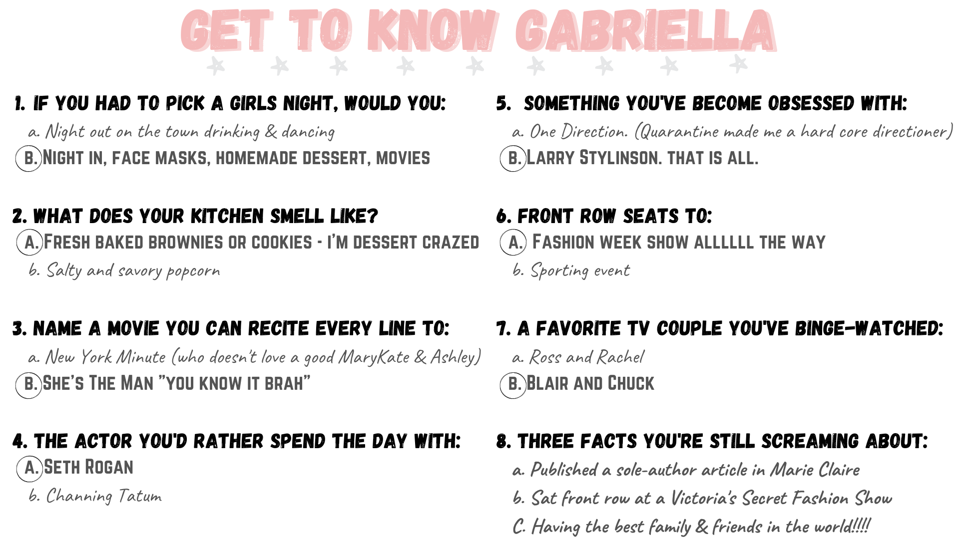 Gab With Me About Me Get to Know Gabriella